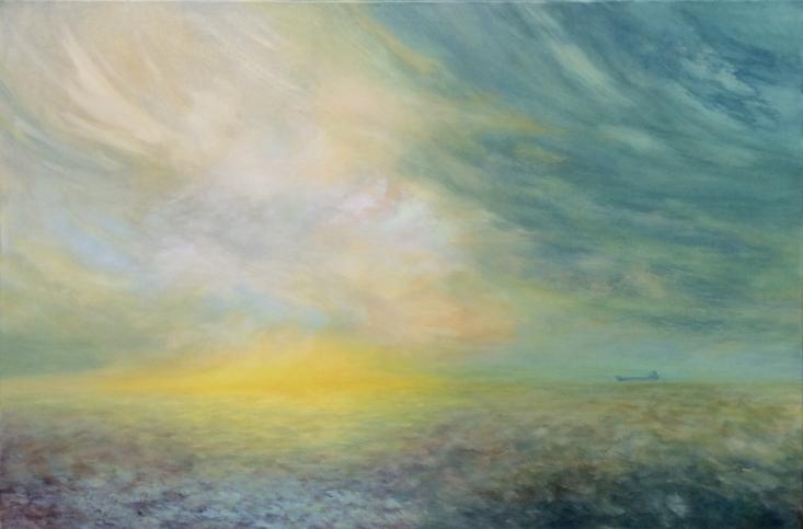 Amanecer del Plata (Acrílico sobre tela - 120 x 80)