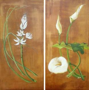 Narcisos y Calas (Diptico - Acrílico sobre tela - 2 x 40 x 80)