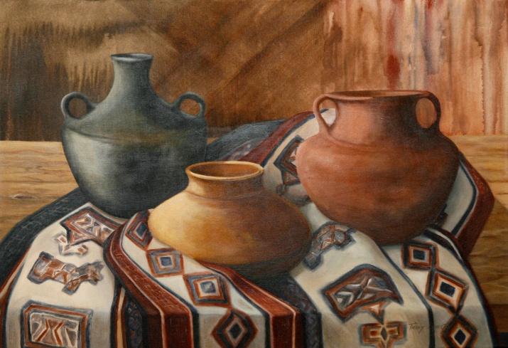 Vasijas (Acrílico sobre tela - 100 x 60)