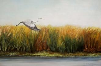 Garza de los Esteros (Técnica mixta sobre tela - 120 x 80)