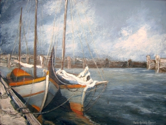 Tormenta en el Puerto (Técnica mixta sobre tela - 60 x 40)