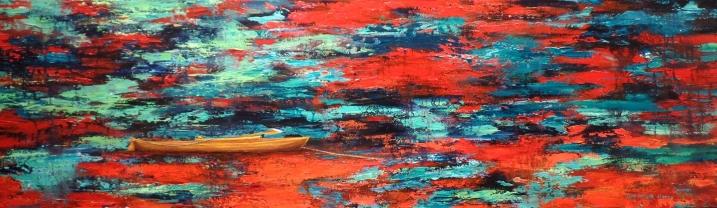 Canoa de Madera (Técnica mixta sobre tela - 140 x 40)