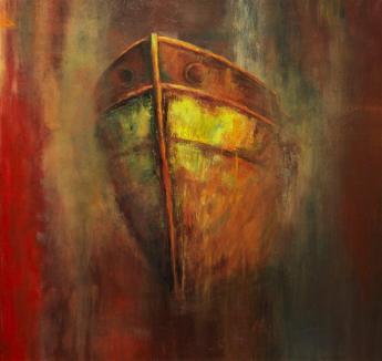 Barco Fantasma (Acrílico sobre tela - 100 x 90)