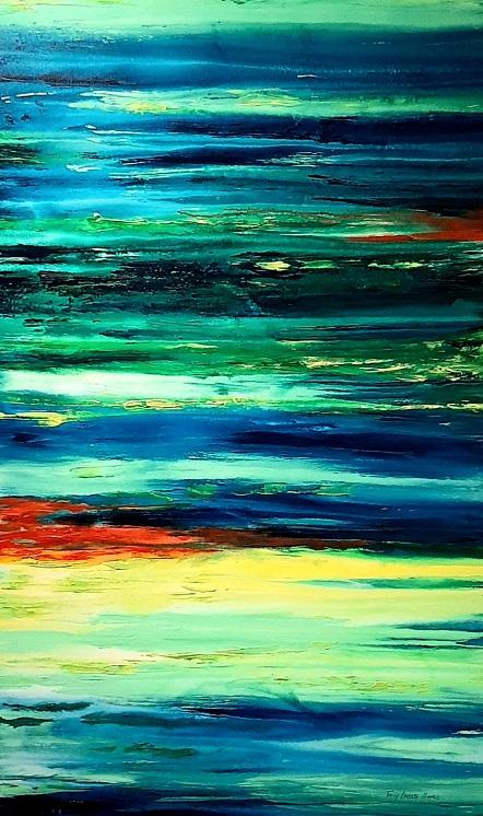 Reflejos del Agua I (Técnica mixta sobre tela - 90 x 150)