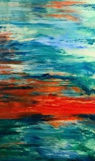 Reflejos del Agua II (Técnica mixta sobre tela - 90 x 150)